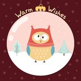 Caliente la tarjeta de felicitación de los deseos con un búho divertido Imagenes de archivo
