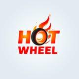 Caliente ruede adentro la plantilla del vector del diseño del logotipo de la llama del fuego Logotipo del coche Icono del concept ilustración del vector