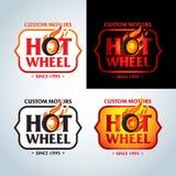 Caliente ruede adentro la plantilla del vector del diseño del logotipo del vintage de la llama del fuego Logotipo del coche Diseñ ilustración del vector
