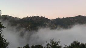 Califórnia ajardina o fundo da natureza Nuvens lentamente de enchimento nas montanhas névoa filme