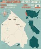 Califórnia: Mapa de Alpine County ilustração stock