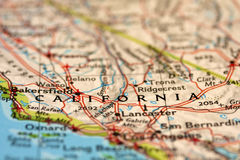 Califórnia no mapa Imagem de Stock Royalty Free