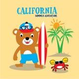 Califórnia que surfa a arte do vetor da camisa de t ilustração do vetor