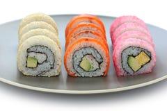 Califórnia rola, sushi do maki, alimento japonês Fotos de Stock Royalty Free