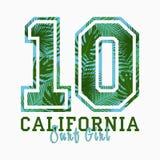 Californië, Brandingsmeisje - typografie voor ontwerpkleren, t-shirt met tropische palmbladen Grafische druk voor aantalkleding V royalty-vrije illustratie