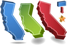 California 3D. Set of 3D images of the State of California with location icons Royalty Free Stock Photos