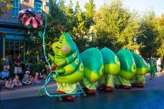 California Adventure Pixar Parade Bugs Life Caterpillar. Pixar animated caterpillar character from Bugs Life is featured in Disney`s California Adventure Pixar royalty free stock image