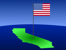 California with American Flag Stock Image