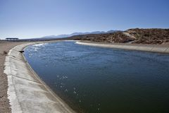 California Aquaduct. The California Aqueduct, 273 miles long, continuously delievers water to thirsty Los Angeles Stock Photos