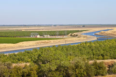 California aquaduct and farmlands. Royalty Free Stock Images