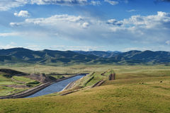 California Aqueduct after a rainy year Royalty Free Stock Photo