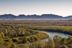 California-Arizona border at Yuma. This is a picture of the California-Arizona border at Yuma, Arizona with the narrowed Colorado River royalty free stock images