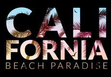 California background with palm. Vector background beach. Summer tropical banner design. Paradise poster template illustration Royalty Free Stock Photos