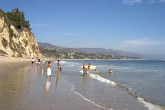 California Beach #1. People enjoy a sunny day at the beach in southern California's Malibu Stock Photos