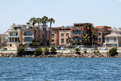 California Beach Houses. Beach town oceanfront luxury homes overlooking the Pacific ocean in southern California Stock Images