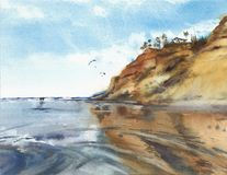 California beach low tide cliffs walk watercolor painting illustration Stock Photography