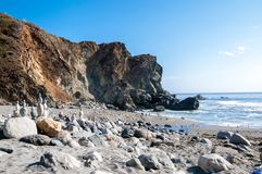 California beach off the Pacific highway with balancing rocks.  stock photography