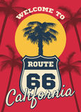 California beach seashore theme vector dream background, postcard design. Silhouette of tree palm in california, illustration of sign route 66 to travel vector illustration