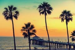 California beach at sunset, Los Angeles, California. royalty free stock photography