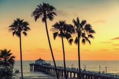 California beach at sunset, Los Angeles, California. stock photos
