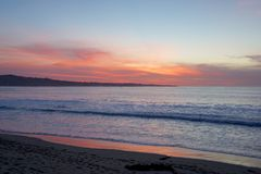 California beach sunset. A beach in California showing the sunset Royalty Free Stock Photography