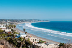 California beaches with a realty near Los Angeles city with a clear blue sky and yellow sand on the coast Stock Photo