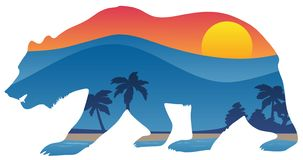 California bear with mountain shoreline summer scene overlay vector illustration. Very cool California style bear with image of mountains, beach shoreline royalty free illustration