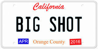 California Big Shot. An imitation California license plate with April 2016 stickers and BIG SHOT written on it making a concept. Words on the bottom Orange Royalty Free Illustration