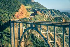 California Bixby bridge in Big Sur Monterey County in Route 1 stock photos