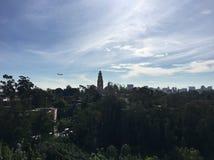 Airplane over balboa park San Diego stock photo