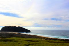 California highway 1 one Pacific ocean. California blue sky on the coast near big sur royalty free stock photo