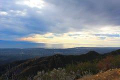 California highway 1 one Pacific ocean. California blue sky on the coast near Santa Barbara mountains stock photo