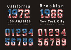 California and Brooklyn Set Flag America typography design Royalty Free Stock Photography