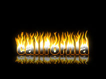 California Burning. California Text on Fire with Reflection Vector Illustration