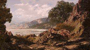 California Coast. A California rocky covered coastline seascape scene royalty free illustration