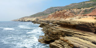 California Coast. The coastline of Southern California along Point Loma Peninsula, known geologically as the Point Loma Formation Stock Images