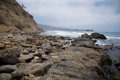 California Coast. The coastline near La Jolla, California looking towards the pier stock images