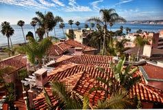California Coast, La Jolla, California. Spanish tile roofs accent California coastal view, La Jolla, California stock image