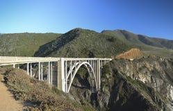 California Coast and Route 1 Bridge. The California coast near Big Sur, with a historic bridge on Route 1 Stock Photos