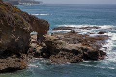 Orange County Coast; Natural Bridge Stock Photo
