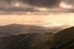 California Coastal Sunset. Verdant Hillside at Sunset in the Santa Cruz Mountains of California Stock Photography