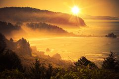 California Coastal Sunset. Shoreline Between Crescent City and Eureka in Northern California, United States. Scenic Sunset Stock Photos