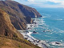 The California coastline in Marin County, California. The beautiful coast of Marin County, north of San Francisco in California Royalty Free Stock Images