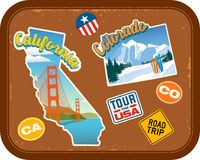 California and Colorado travel stickers with scenic attractions. And retro text on vintage suitcase background Stock Images