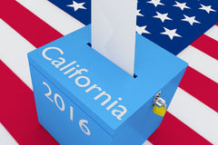 California 2016 Concept. Render illustration of California, 2016 titles on ballot box, with US flag as a background. Election Concept vector illustration