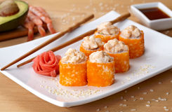 California deluxe sushi roll with tobiko caviar Stock Photo