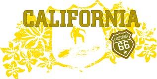 California dream. Vintage surf insignia with hibiscus Stock Illustration