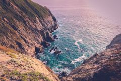 California dreaming. Beautiful view from the cliffs of the Pacific coast highway, gorgeous light before sunset stock photo