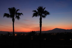 California Dreaming. This photograph was taken before dawn at a hotel n Bakersfield, California while on a business trip. The colors of the sky silhouetted Royalty Free Stock Images