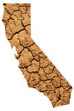 California Drought Map. Map shape of California with dry parched earth representing drought conditions due to Climate Change also know as Global Warming royalty free stock photography